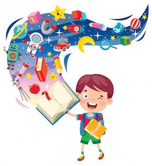 Enfants de l'école de dessin animé mignon heureux