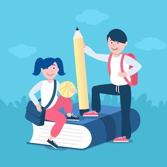 Les enfants et l'éducation au concept de retour à l'école