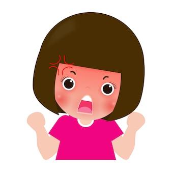Enfants enfants en colère, personnage de dessin animé enfant isolé sur illustration blanche.