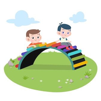 Enfants enfants jouant illustration de terrain de jeux