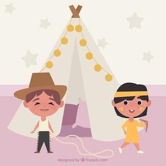 Enfants enthousiaste jouant avec des costumes