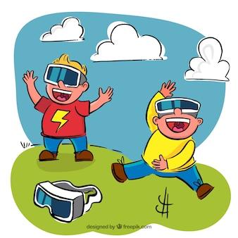 Enfants enthousiaste jouant avec des lunettes de simulation