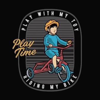 Enfants, équitation, tricycle