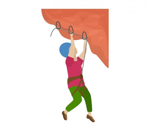 Enfants escalade grimpeur enfants caractère grimpe mur de montagne de roche ou illustration de l'alpinisme falaise montagneuse ensemble d'enfant dans le sport extrême alpiniste sur fond blanc