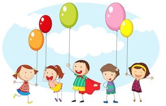 Enfants et nombreux ballons colorés