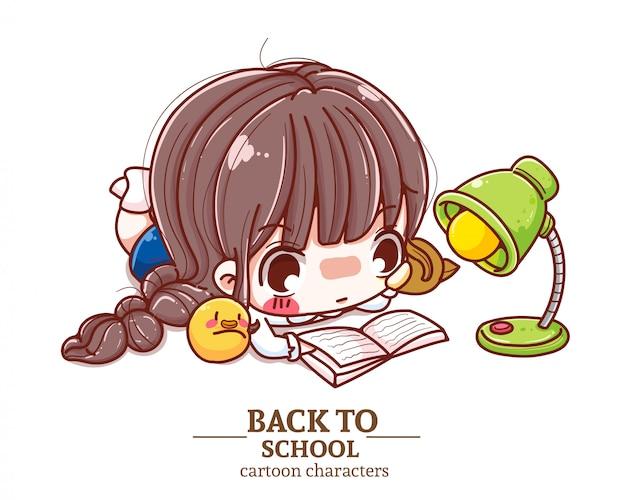 Enfants étudiant uniforme allongez-vous pour lire, livre de lecture, retour au logo d'illustration de l'école.