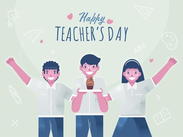 Enfants étudiants mignons présentant un petit gâteau pour la célébration de la journée des enseignants heureux.