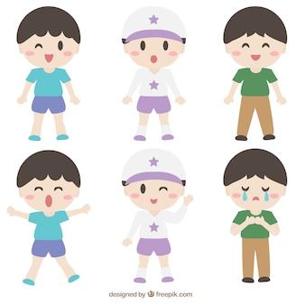 Les enfants avec des expressions différentes