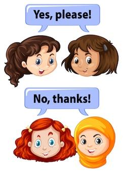 Enfants avec des expressions de manière