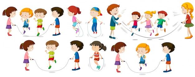 Enfants faisant la corde à sauter
