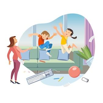 Enfants faisant le désordre dans le vecteur de dessin animé de salon