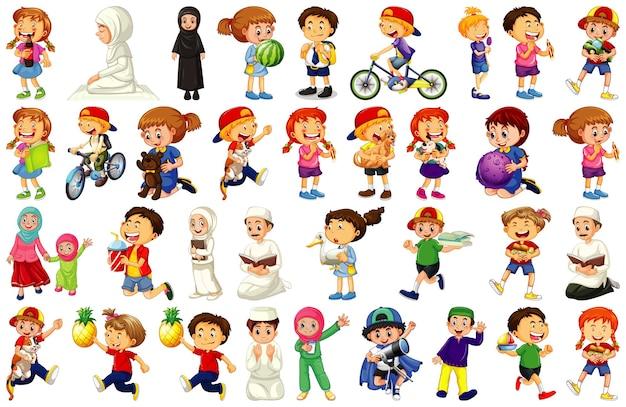 Enfants faisant différentes activités personnage de dessin animé sur blanc