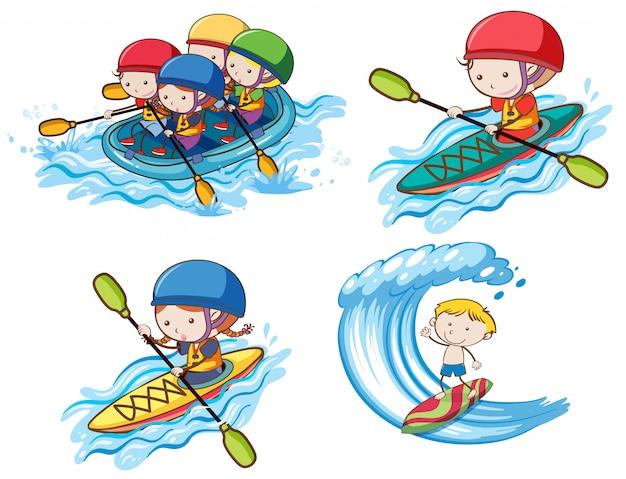Enfants faisant du sport aquatique sur fond blanc