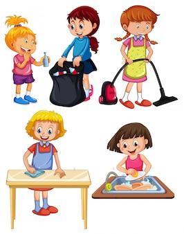 Enfants faisant des travaux ménagers sur fond blanc
