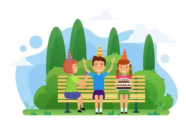 Les Enfants Fêtent Leur Anniversaire Sur Un Banc Dans Le Parc Vecteur Premium