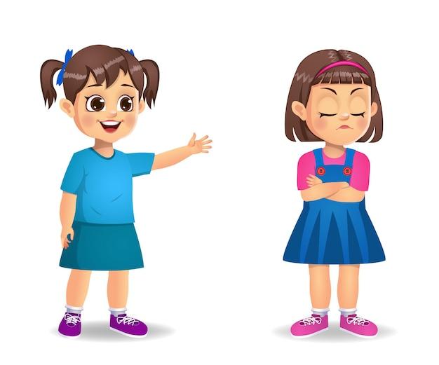 Enfants fille en colère les uns contre les autres