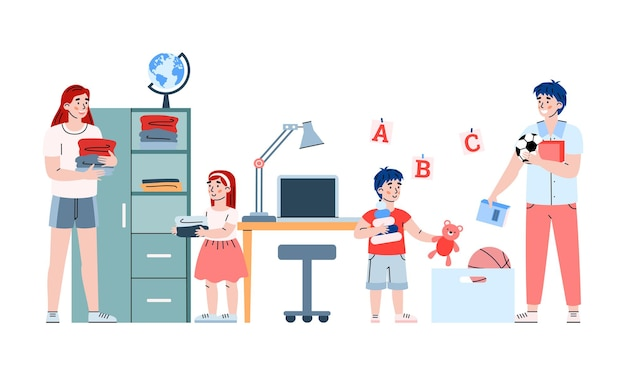 Enfants fille et garçon aident les parents à faire le ménage une illustration de vecteur de dessin animé