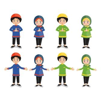 Enfants, filles et garçons, groupe, petit, dessin animé, élèves, collection, étudiants musulmans, plat, illustration
