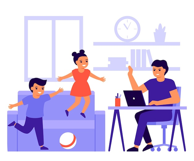 Les enfants font du bruit et dérangent le travail des parents à la maison