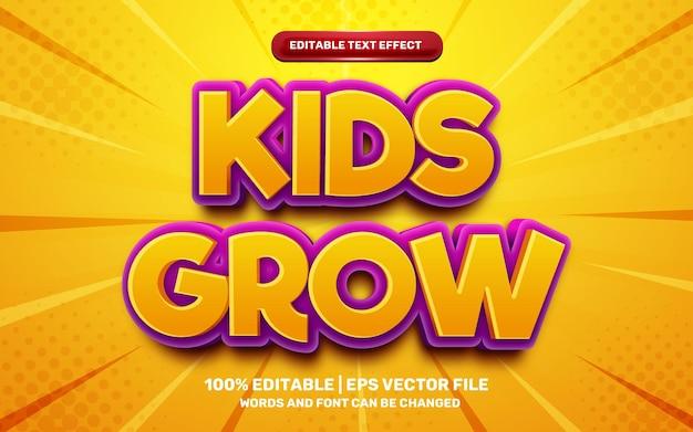 Les enfants font grandir l'effet de texte modifiable en 3d du jeu comique