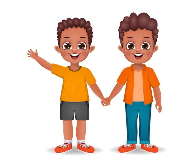 Enfants garçon africain tenant la main ensemble