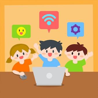 Enfants, garçon et fille apprennent l'illustration d'ordinateur ou d'ordinateur portable