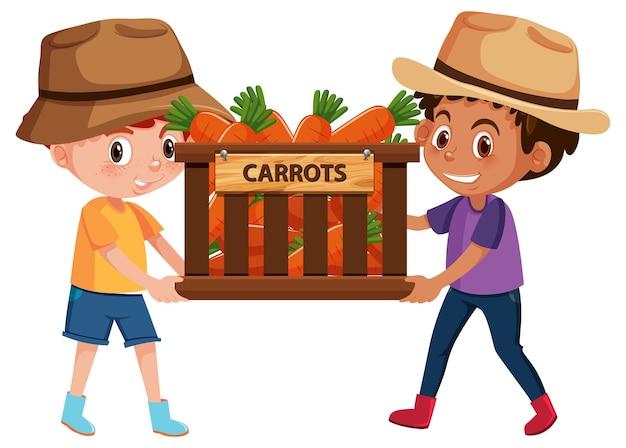 Enfants garçons avec fruits ou légumes sur fond blanc