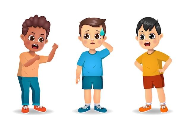 Enfants garçons se battant les uns avec les autres