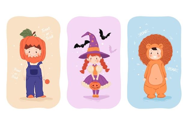 Enfants d'halloween dessinés dans un ensemble de costumes