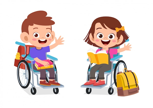Enfants handicapés étudiant ensemble