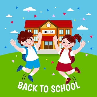 Enfants heureux acclamant le concept de l'école