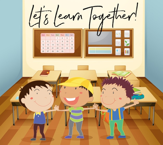 Des enfants heureux apprennent en classe