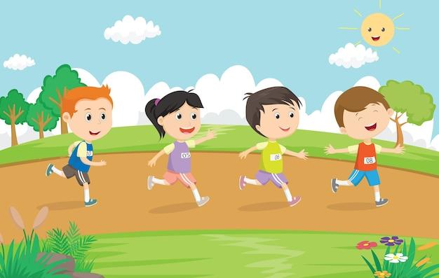 Enfants heureux courir marathon ensemble dans le parc