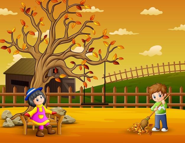 Enfants heureux dans le jardin