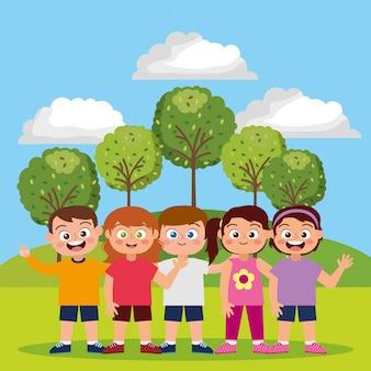 Enfants heureux dans le parc