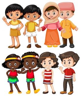 Enfants heureux de différents pays