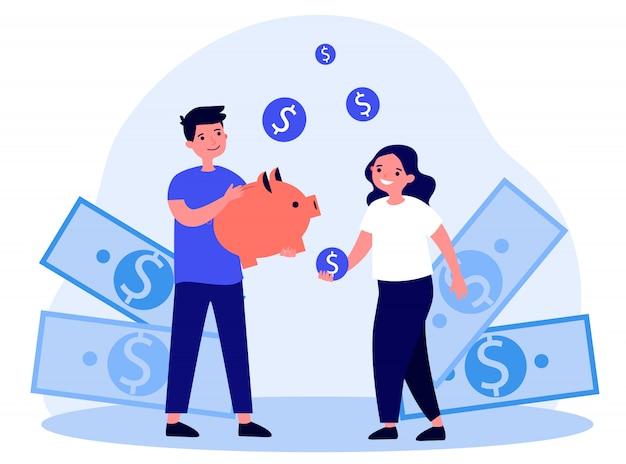 Enfants heureux, économiser de l'argent