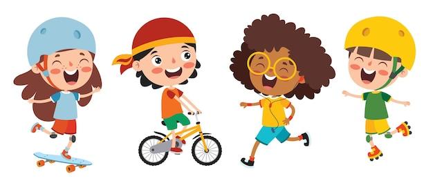 Enfants heureux faisant divers sports