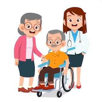 Enfants heureux avec les grands-parents