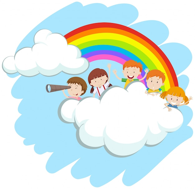 Enfants heureux sur l'illustration arc-en-ciel