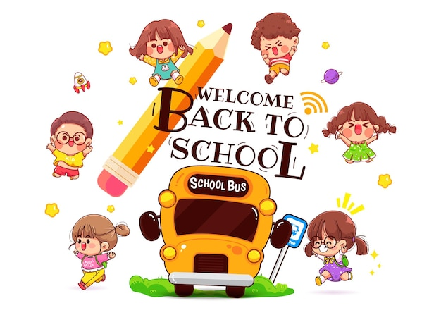 Enfants heureux et illustration d'art de dessin animé d'autobus scolaire