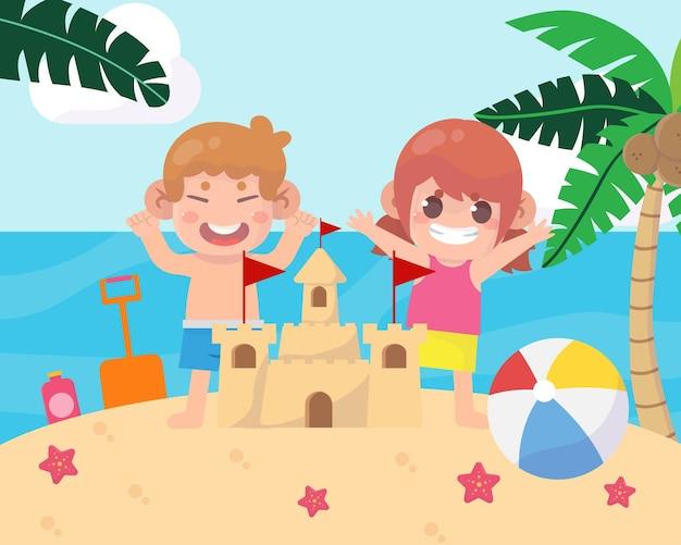 Enfants heureux sur l'illustration de vacances à la plage