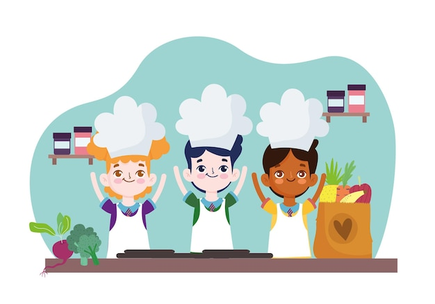 Enfants heureux avec des ingrédients alimentaires
