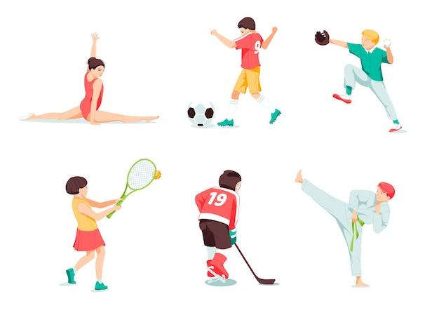 Enfants heureux jouant au jeu de sport