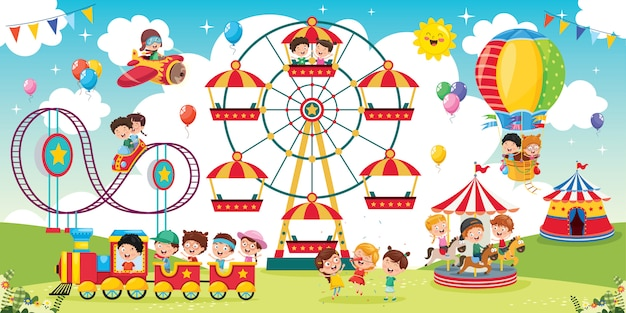 Enfants heureux jouant illustration de paysage