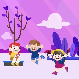Des enfants heureux jouent ensemble dans le jardin