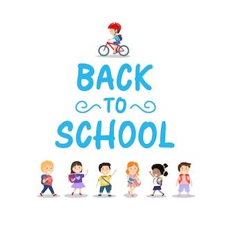 Enfants heureux et lettrage de retour à l & # 39; école