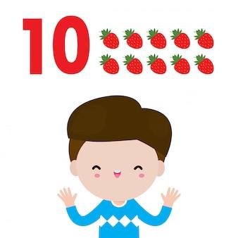 Enfants Heureux Main Montrant Le Numéro Dix, Enfants Mignons Montrant Les Chiffres Par Les Doigts. Petit Enfant, étude, Math, Nombre, Compte, Fruit, éducation, Concept, Apprentissage, Matériel, Isolé, Illustration Vecteur Premium