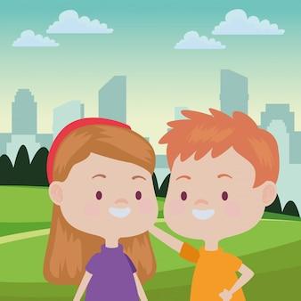 Enfants heureux mignons ayant des dessins animés
