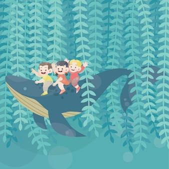 Enfants heureux mignons jouent avec le vecteur de joie de baleine